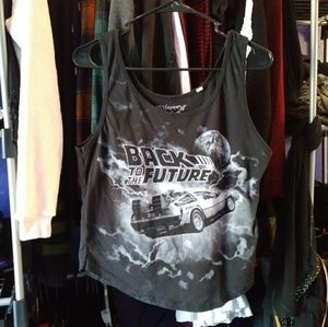 Back to the Future XL Black Tank Top Mighty Fine